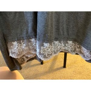 Tops - Gray Top With Lace Bottom